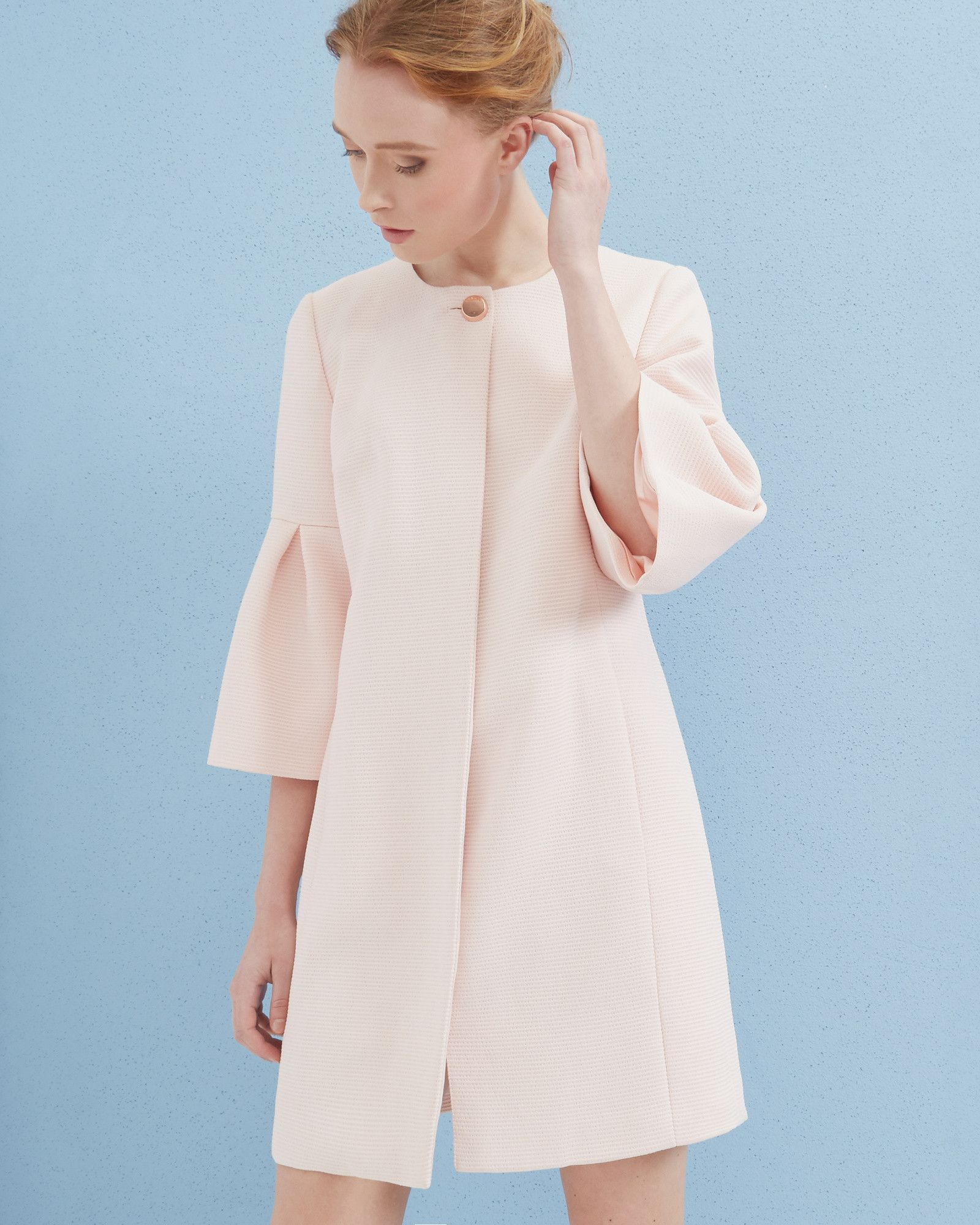 6d844d962 Bell sleeved coat - Baby Pink