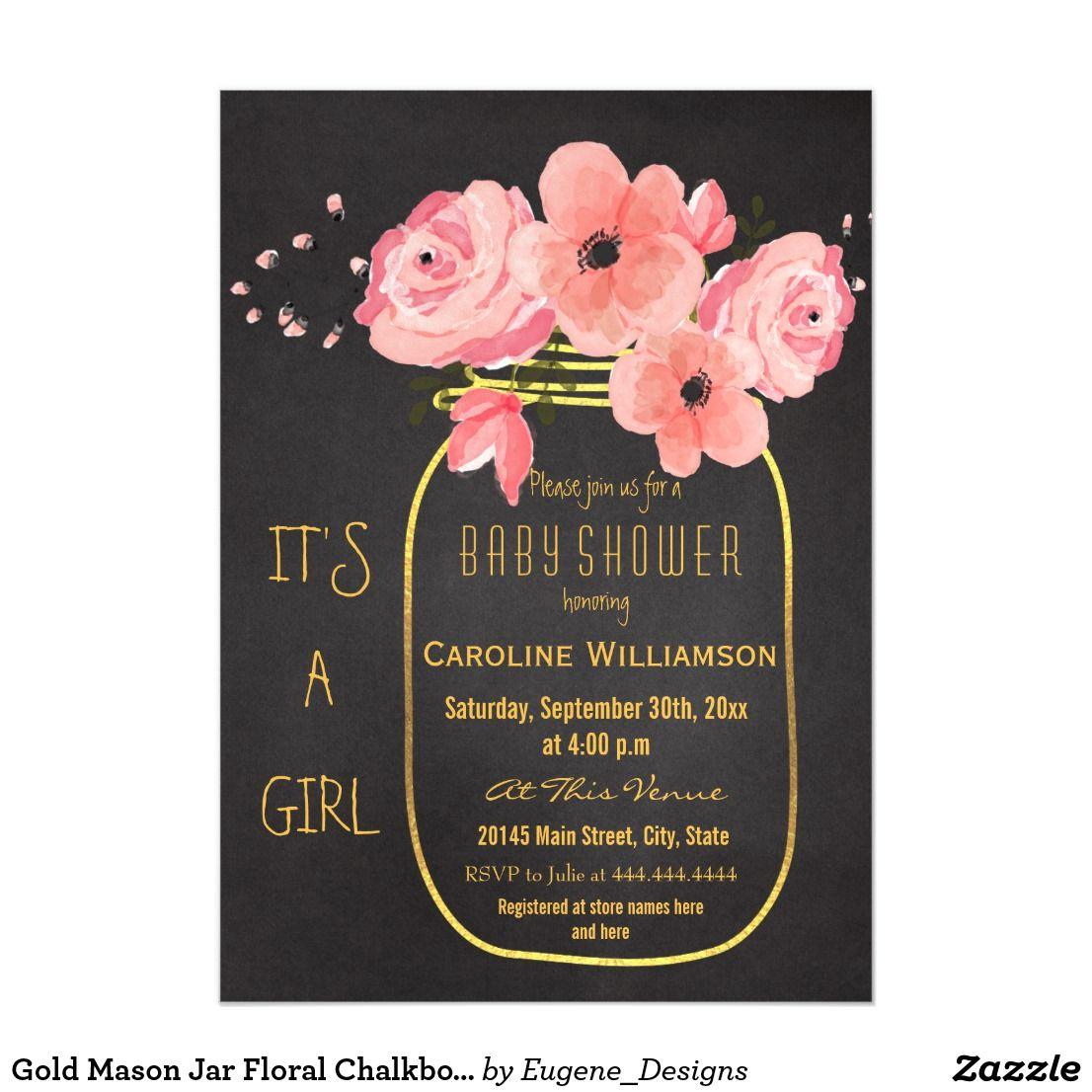 Gold mason jar floral chalkboard baby shower magnetic invitation gold mason jar floral chalkboard baby shower magnetic card pink personalized watercolor flowers and gold mason filmwisefo
