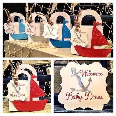 12 Embossed Anchors Nautical Sail Boat Baby shower favor boxes personalized