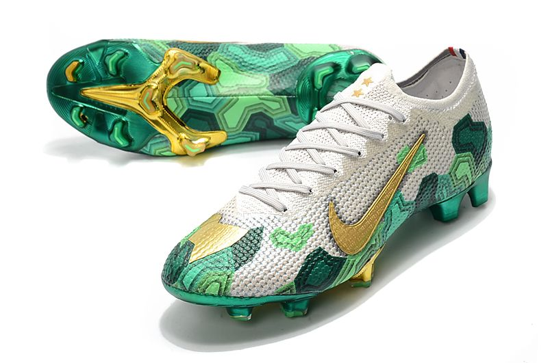 New Mbappe Nike Mercurial Vapor Xiii Elite Acc Fg Grey Gold Green In 2020 Green Football Boots Soccer Boots Soccer Cleats Nike