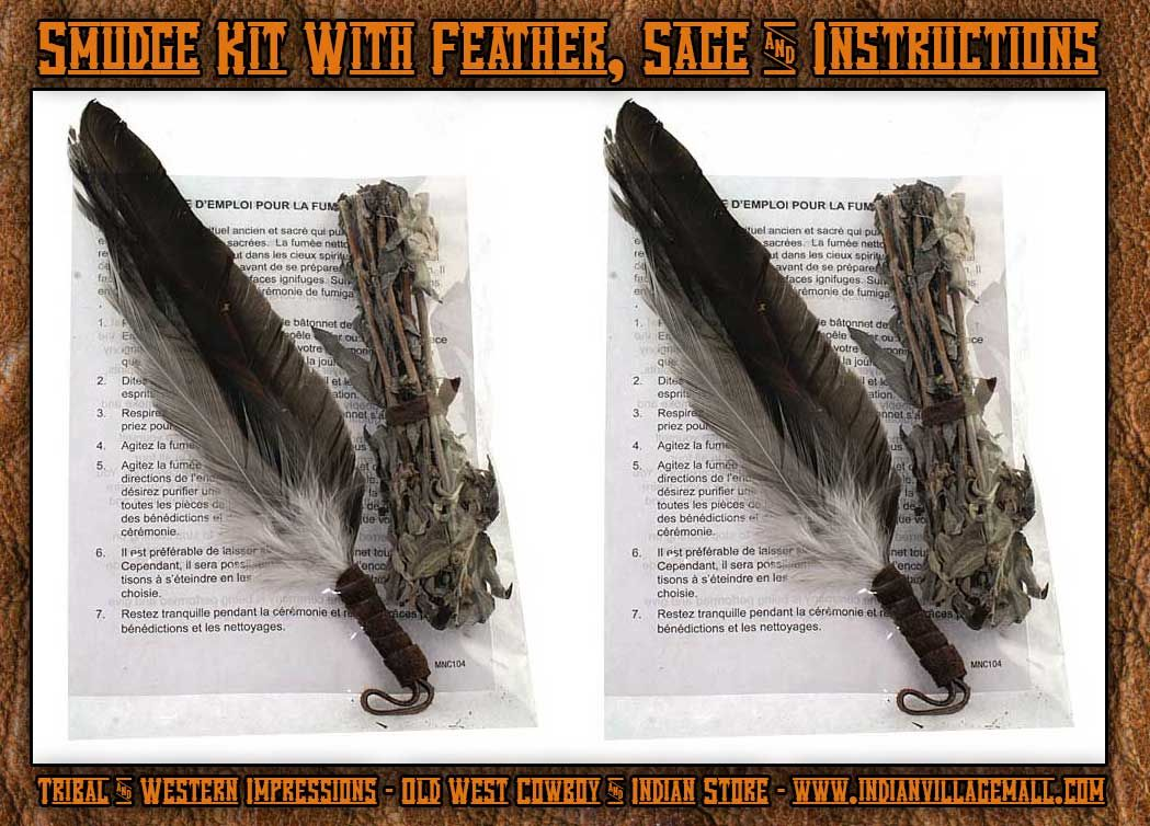 Native Made Smudge Kit With Feather, Sage And Instructions