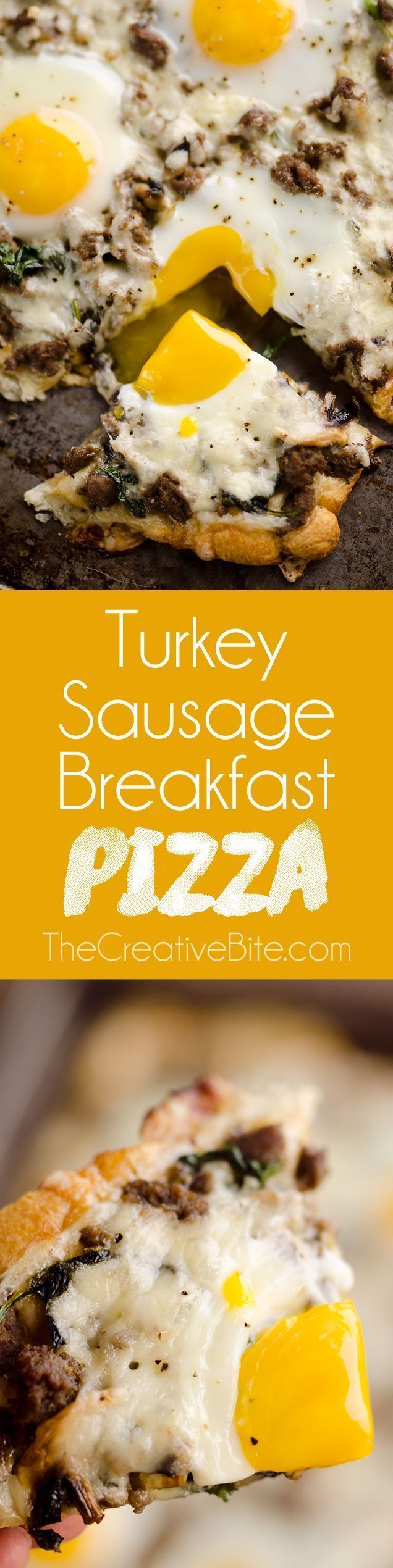 Turkey Sausage Breakfast Pizza - #breakfast #pizza #sausage #turkey - #BreakfastPizza