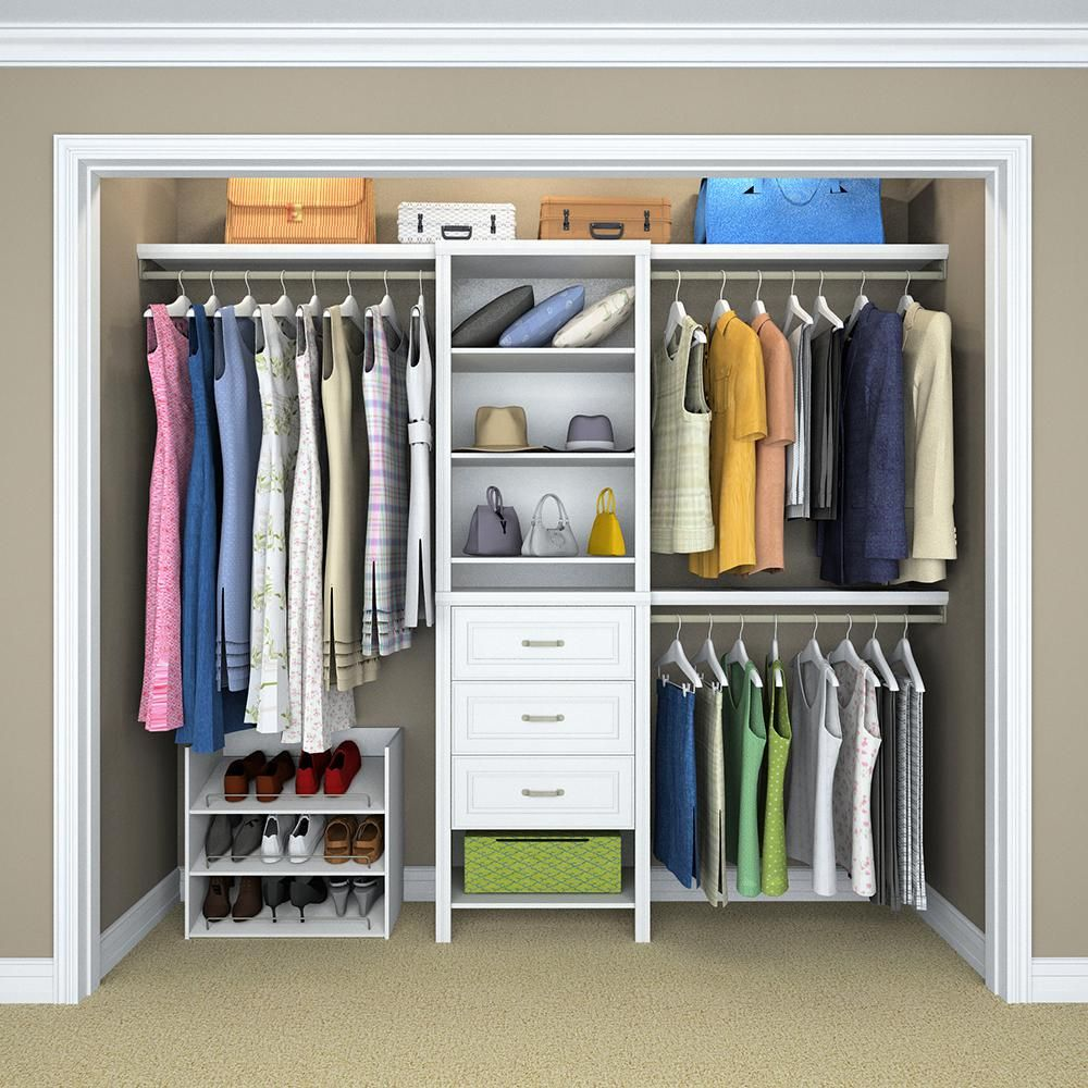 Closetmaid Impressions Standard 60 In W 120 In W White Wood Closet System 14865 The Home Depot Bedroom Closet Design Bedroom Organization Closet Closet Designs