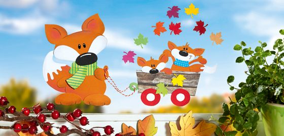 Fuchsfamilie beim herbstausflug oz verlag fuchs und - Herbst bastelvorlagen fensterbilder ...