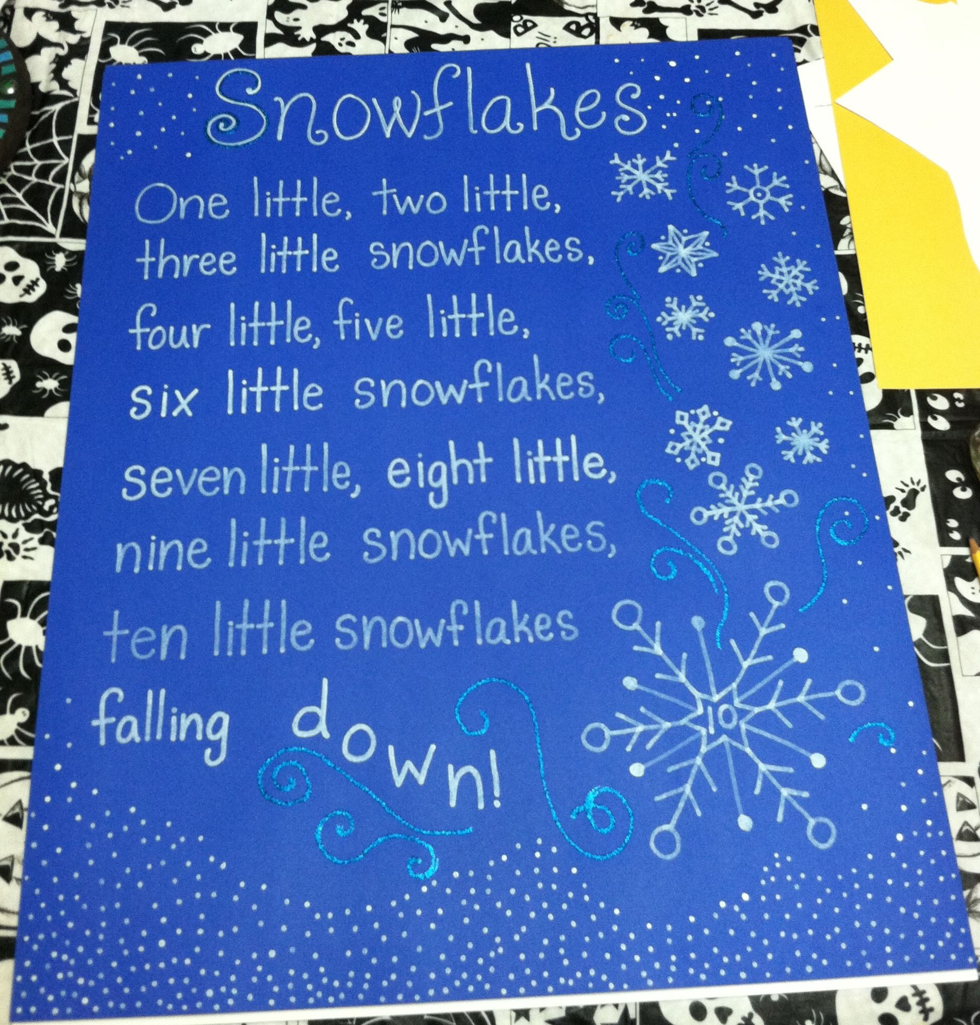 Snowflake poem song tag board kindergarten classroom