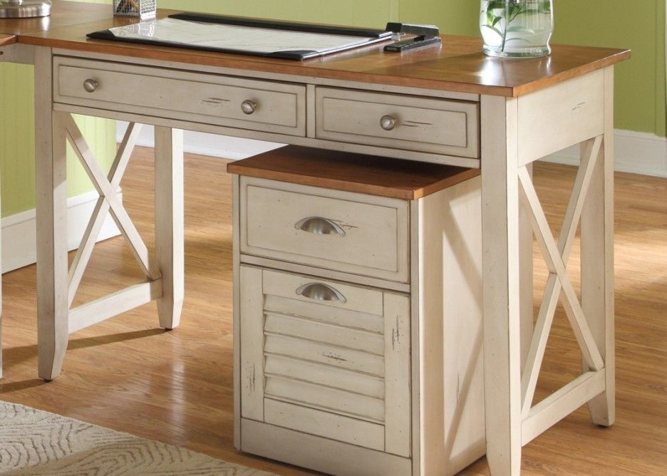 Home Office Classic Furniture Of Rustic White Wooden Desk Designed With Brown Top And Drawers Plus Cream Rug On The Floor