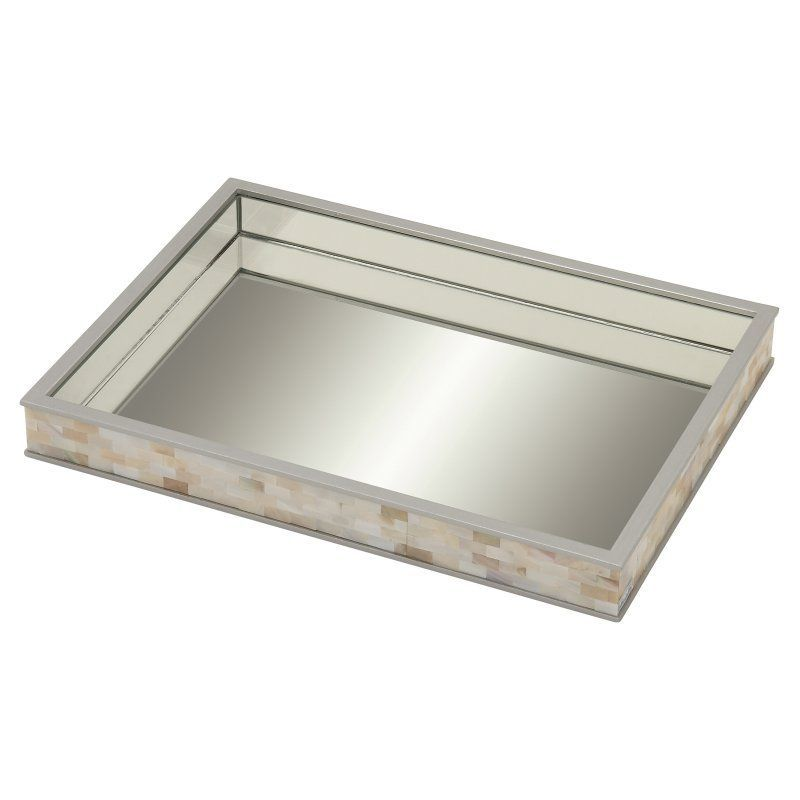 DecMode 18W x 2H in. Rectangular Stainless Steel Mother of Pearl and ...