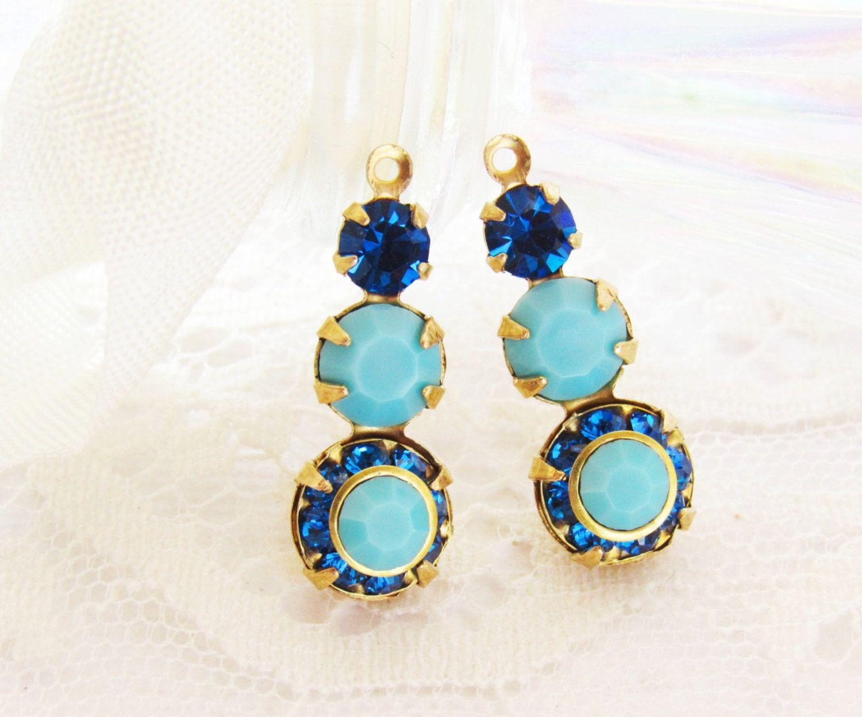 58b248404 Swarovski Turquoise and Capri Blue Rhinestone Triple Stone Teardrop Dangles  Raw Brass or Antiqued Silver Setting - Pair by alyssabethsvintage on Etsy
