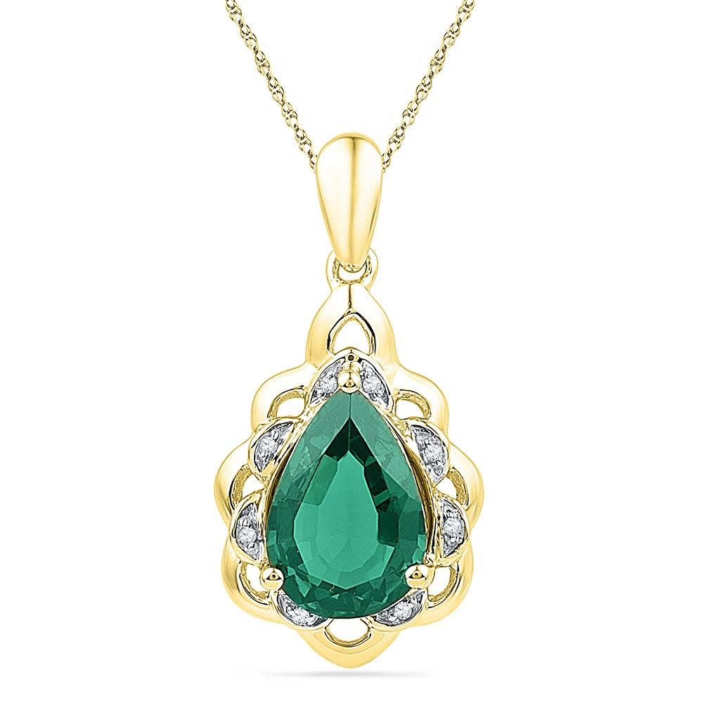 d45d0b04825c3 10kt Yellow Gold Womens Pear Lab-Created Emerald Solitaire Diamond ...