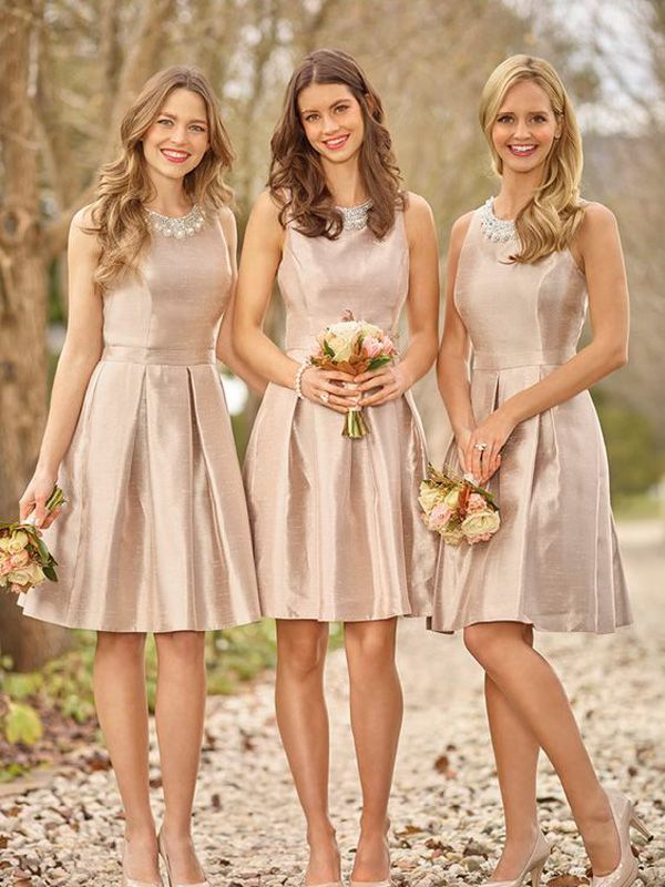 e236441fbc281 Champagne Fit-and-flare Short Bridesmaid Dress With Pearl Neckline ...