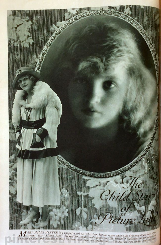 """Publicity photo of child actress Mary Miles Minter from Cosmo Oct. 1917. She appeared in 54 silent films from 1912 - 23. She appeared in """"Anne of Green Gables"""" (1919) a lost film. There were rumors that she had romantic relationship with the director of the film. In 1922 the director William Desmond Taylor was murdered, the murder was never solved but it tarnished her career. Some believed her mother committed the murder. She died in 1984 aged 82."""