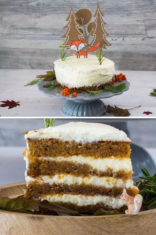 Waldtiere Torte Herbstliche Kurbistorte Mit Zimt Mascarpone Creme Rezept Kasekuchen Rezept Dessert Rezepte Kurbiskuchen