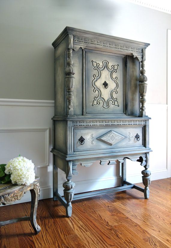 Antique Jacobean Hand Painted Cottage Chic Shabby Distressed Grey Cupboard  China Hutch / Display Cabinet