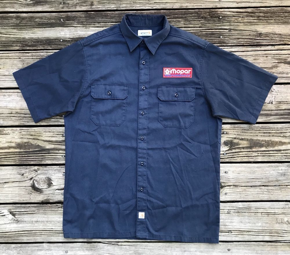 c8dba807 MOPAR Performance Vintage 90s CARHARTT Navy Blue Garage Shirt Men's L # Carhartt #ButtonFront