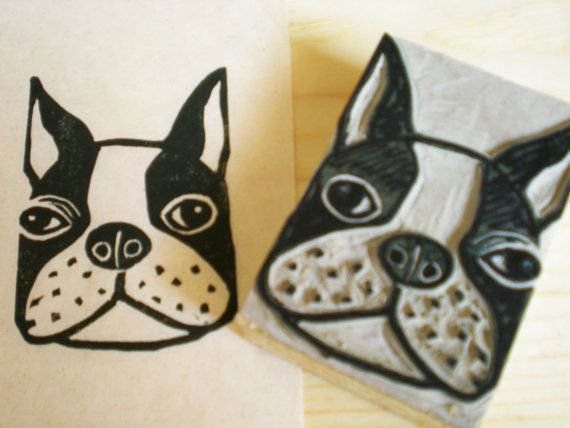 Boston terrier dog stamp hand carved linoleum block quot