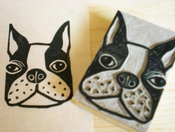 Boston terrier dog stamp hand carved linoleum by ayutomikawaart
