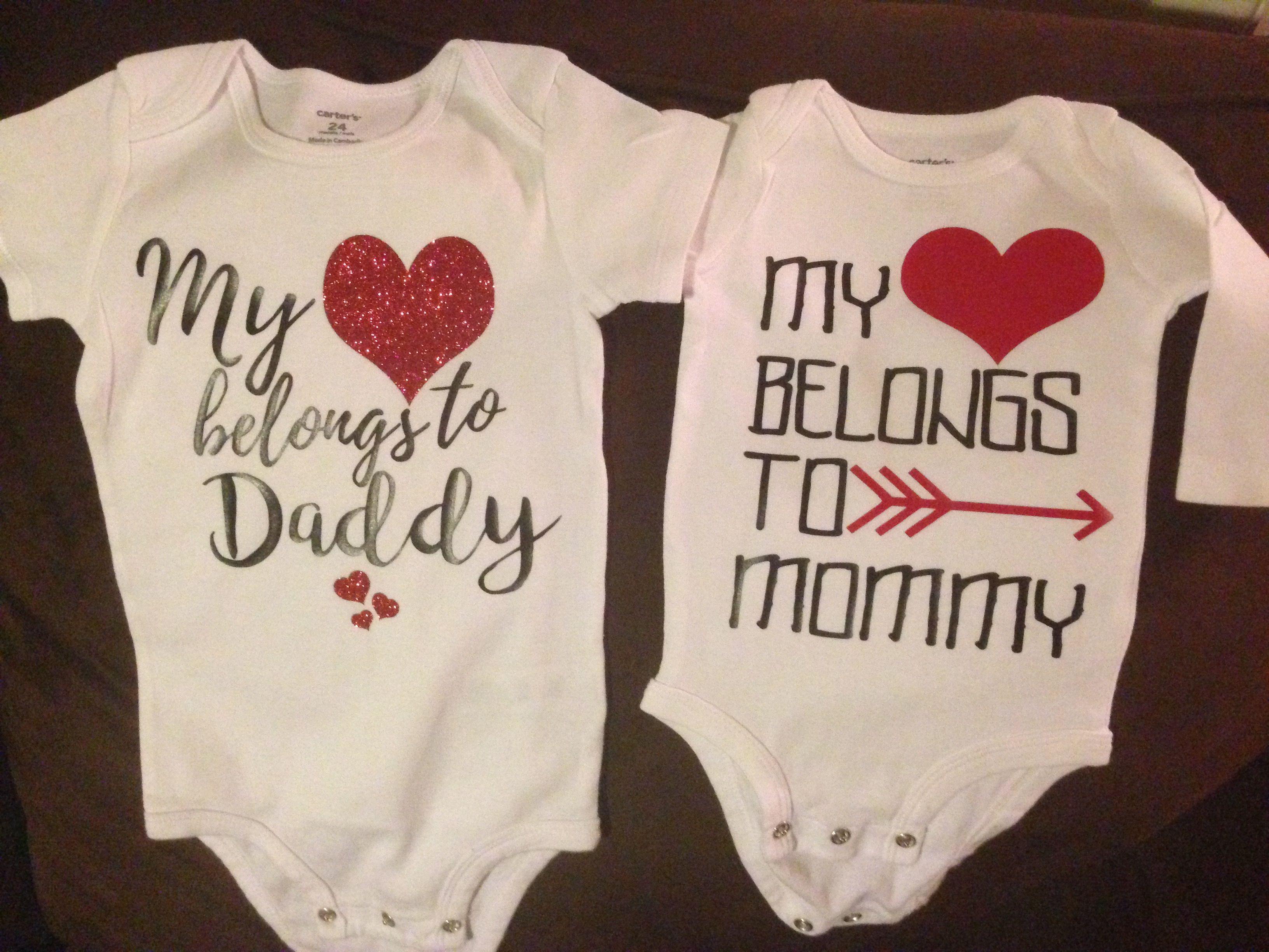 ef767e575 My heart belongs to daddy and mommy siblings onesie custom vinyl design  Cute Baby Girl Outfits