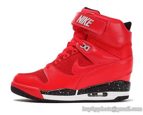 304864f8bc7f Women s Nike Air Revolution Sky Hi Leather High-top Sneakers Action Red  Black Wedges
