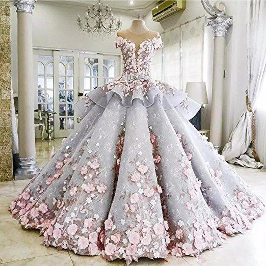 89e8d9ef6cf67 Dressvip Femme Robe Princesse de Cérémonie de Soirée Chic Boule sans  Manches Longue avec Applique Fleurs Manuelle. EUR 599