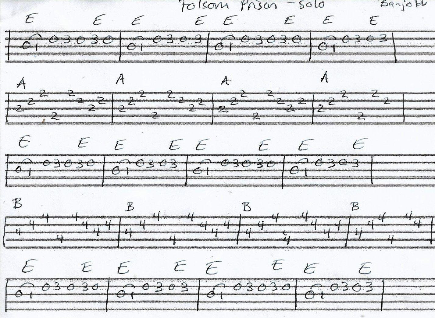 Folsom Prison Blues Banjo Tab In E Solo Banjo Tabs Banjo Lessons Banjo