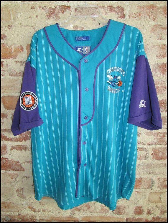 68af860adda Vintage 90's NBA Charlotte Hornets Starter Baseball Jersey by  RackRaidersVintage