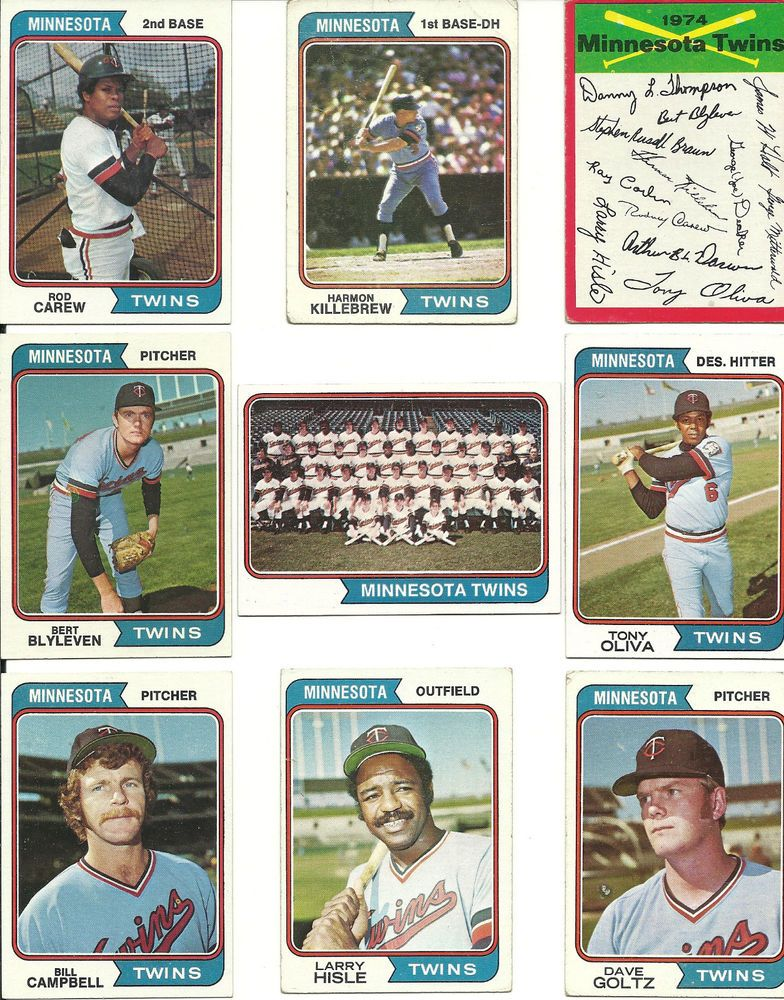 1974 Topps vintage TWINS 27 cards partial teams set lot HOF Killebrew Carew  #MinnesotaTwins