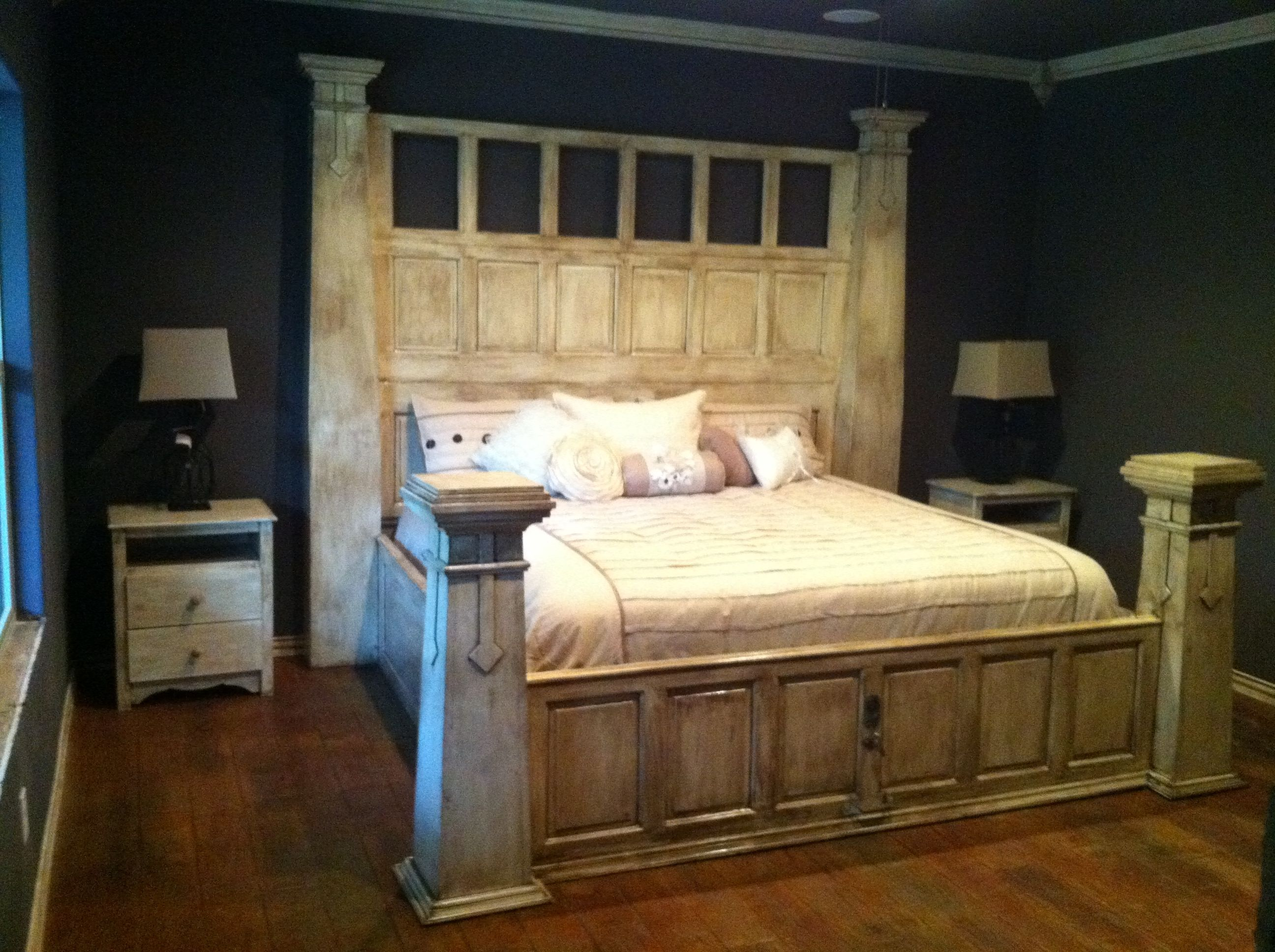 Finished product massive king size bed made from old