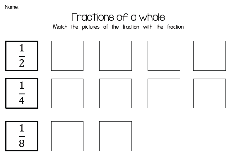 Fractions Worksheet 1 2 1 4 1 8 This Resource Is