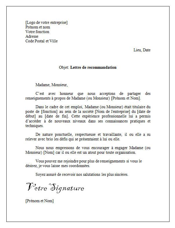 Lettre De Recommandation Et De Reference Professionnelle Docutexte Word Doc Words Success Business