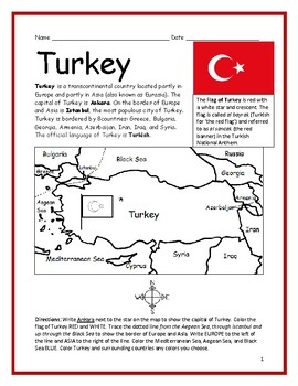Turkey Introductory Geography Worksheet With Map And Flag Geography Worksheets Map Activities Basic Geography