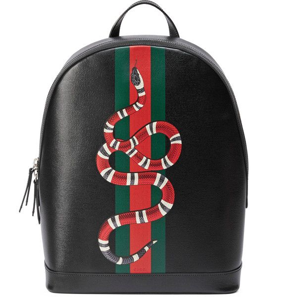 22d1f96f8151 Gucci Web And Snake Print Leather Backpack ( 1,980) ❤ liked on Polyvore  featuring men s fashion, men s bags, men s backpacks, black, mens leather  backpack, ...
