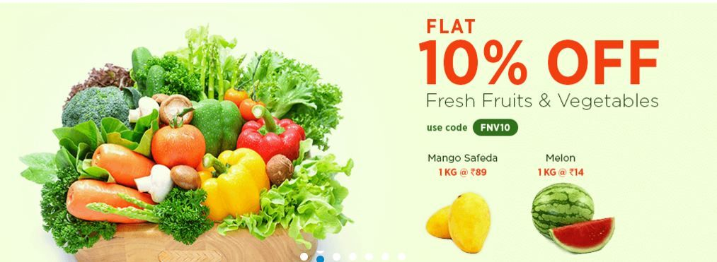 Flat 10 off on fresh fruits and vegetables apply the