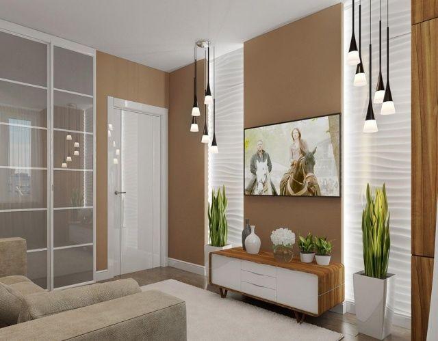 kleines wohnzimmer einrichten modern beige weiß zimmerpflanzen - wohnzimmer beige wei