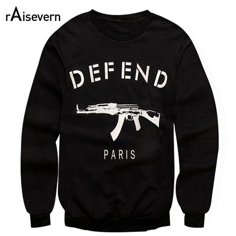 Hot Sale! Letters DEFEND PARIS AK47 Automatic Rifles Print