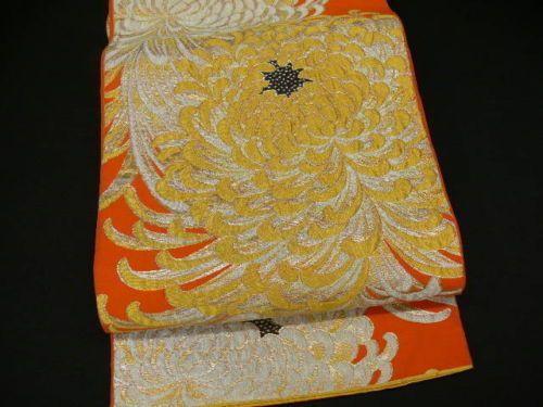 "JAPANESE ART SILK KIMONO ""VINTAGE FUKURO OBI""  WOVEN GOLD CHRYSANTHEMUM SIZE: 158"" x 12"" approximately."