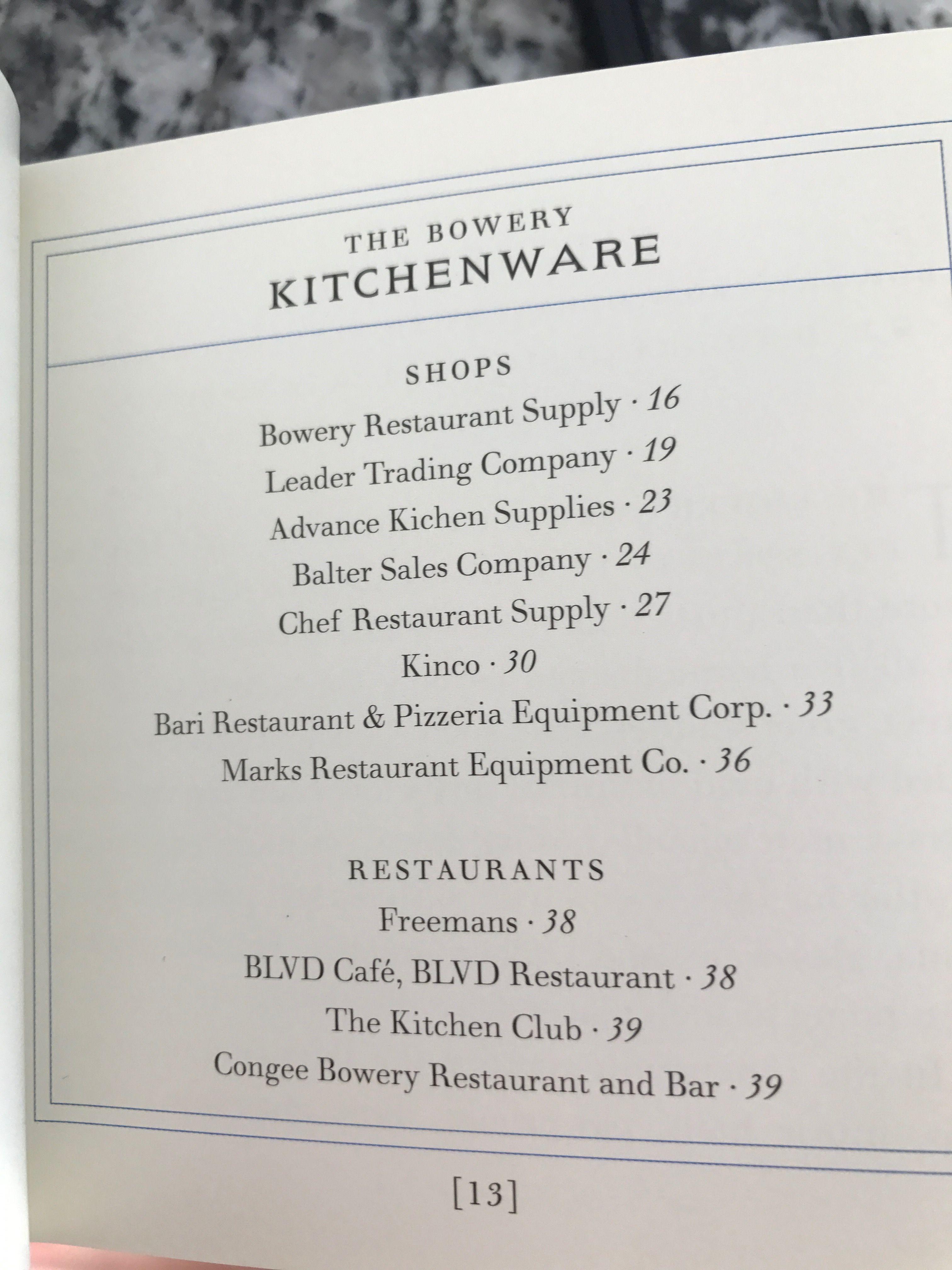 Bowery Shopping Kitchenware Kitchenware Shop Restaurant Supplies Restaurant Equipment