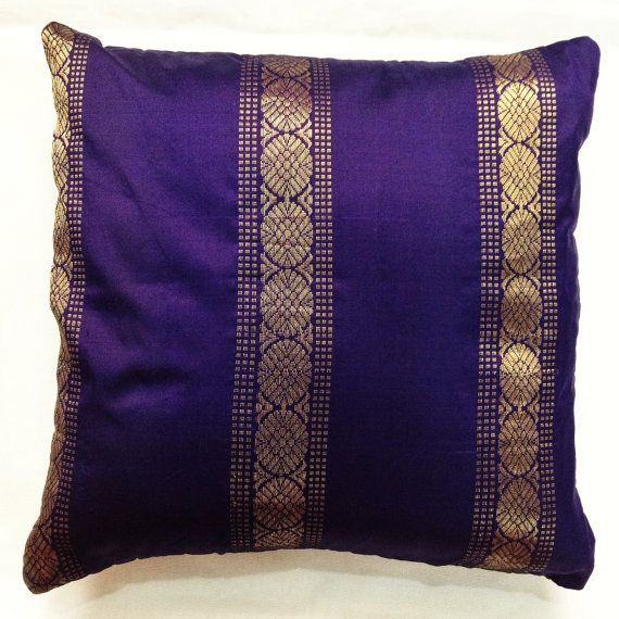 Decorative Silk Pillow Cover - Handmade Upcycled Silk Sari Throw Pillow - Purple Silk Cushion Cover & Decorative Silk Pillow Cover - Handmade Upcycled Silk Sari Throw ... pillowsntoast.com