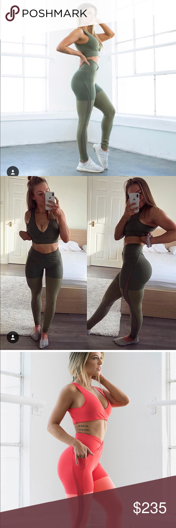 642a5da294d68 Gymshark x Nikki Blackketter Season 2 Leggings Coral, Army Green, and  Pineapple print leggings Only wore each of them once High wasted, two tones  leggings ...