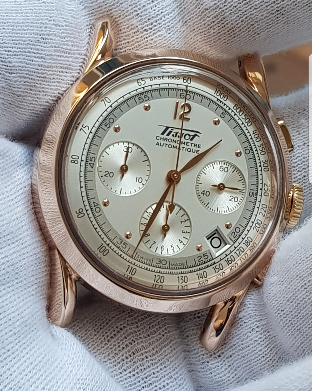 8c9a3df36f8 Tissot heritage rare 18k rose gold chronograph 150 anniversary in ...