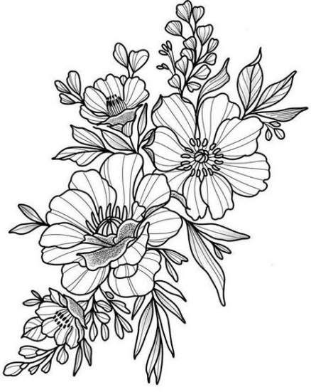 67 Ideas Flowers Sketch Pattern Tattoo Ideas