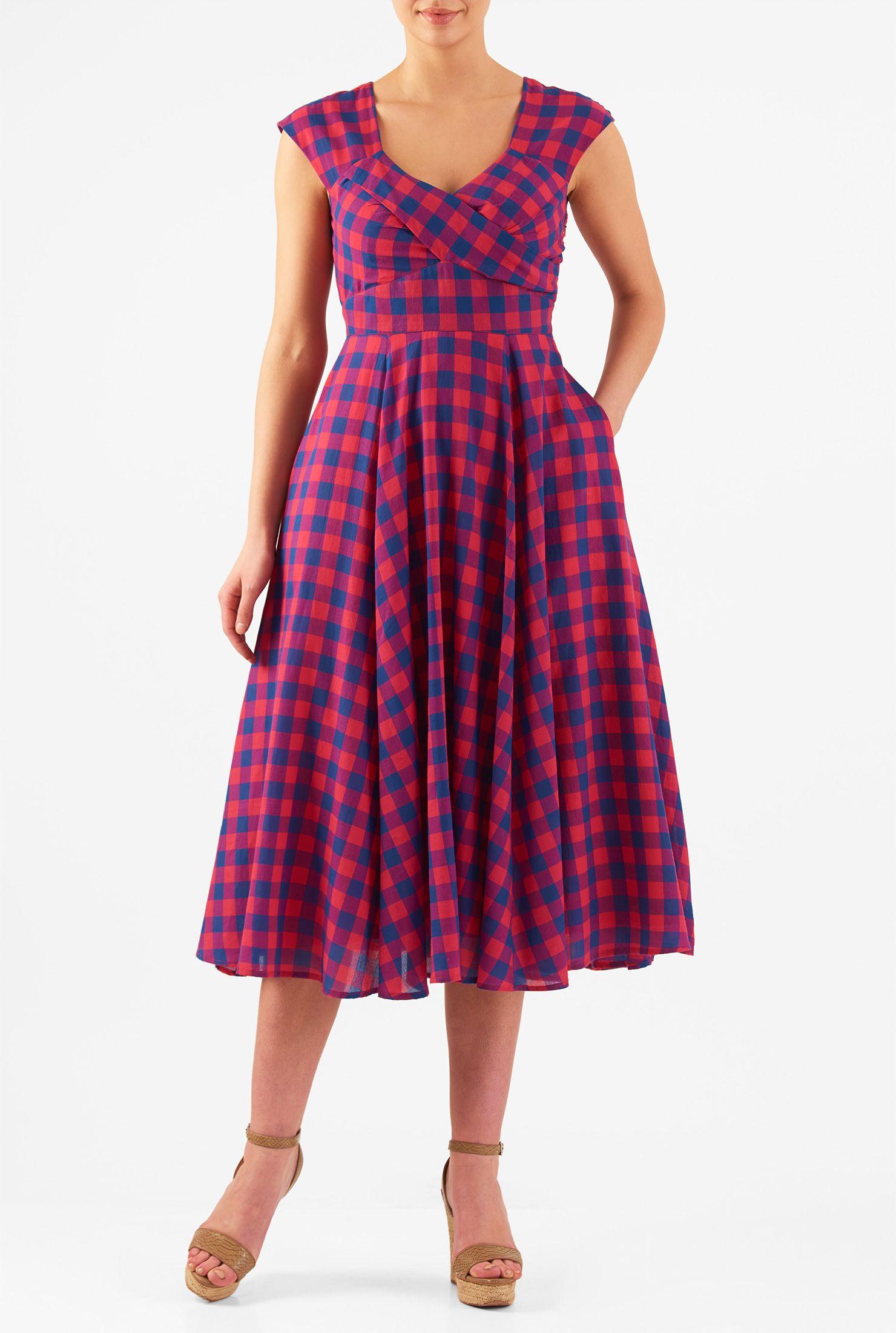 Cotton check corset-style dress