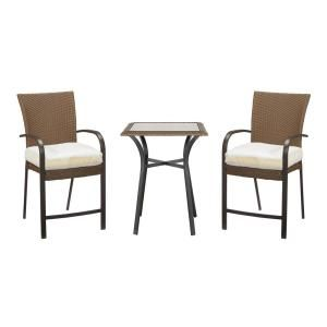 Hampton Bay Corranade Custom 3 Piece Wicker Outdoor Balcony Height Bistro Set Hd17539 At The