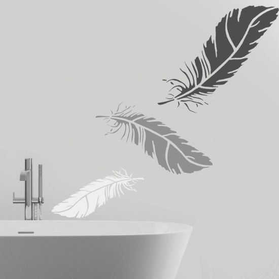 feather stencil wall art stencil home wall d cor feather wall d cor decorating stencil. Black Bedroom Furniture Sets. Home Design Ideas