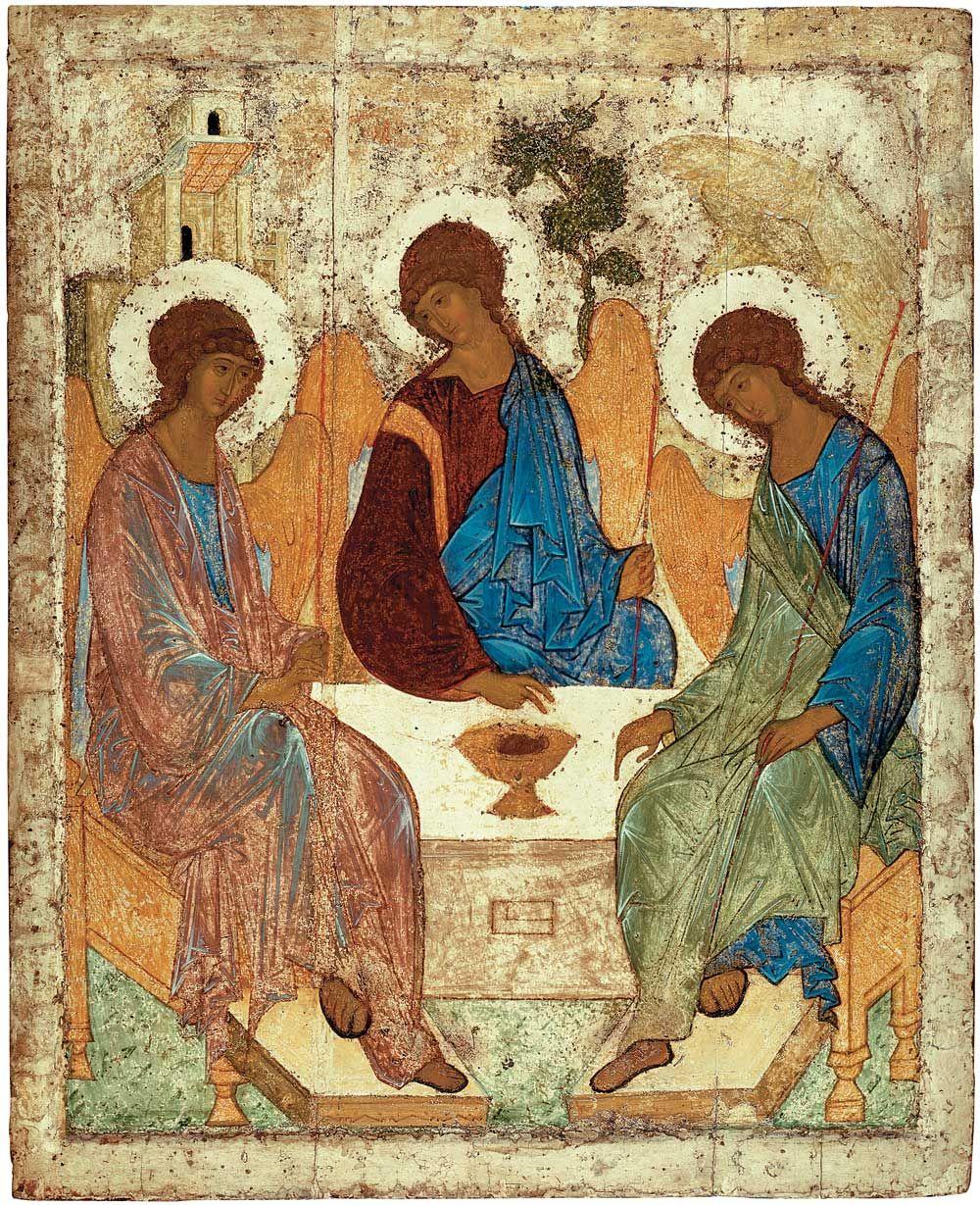 "Andrei Rublev - ""Troitsa (The Holy Trinity)."" Temple icon of the Trinity Cathedral in the Troitse-Sergiyeva Lavra (Trinity-Sergius Lavra). 1411. State Tretyakov Gallery"