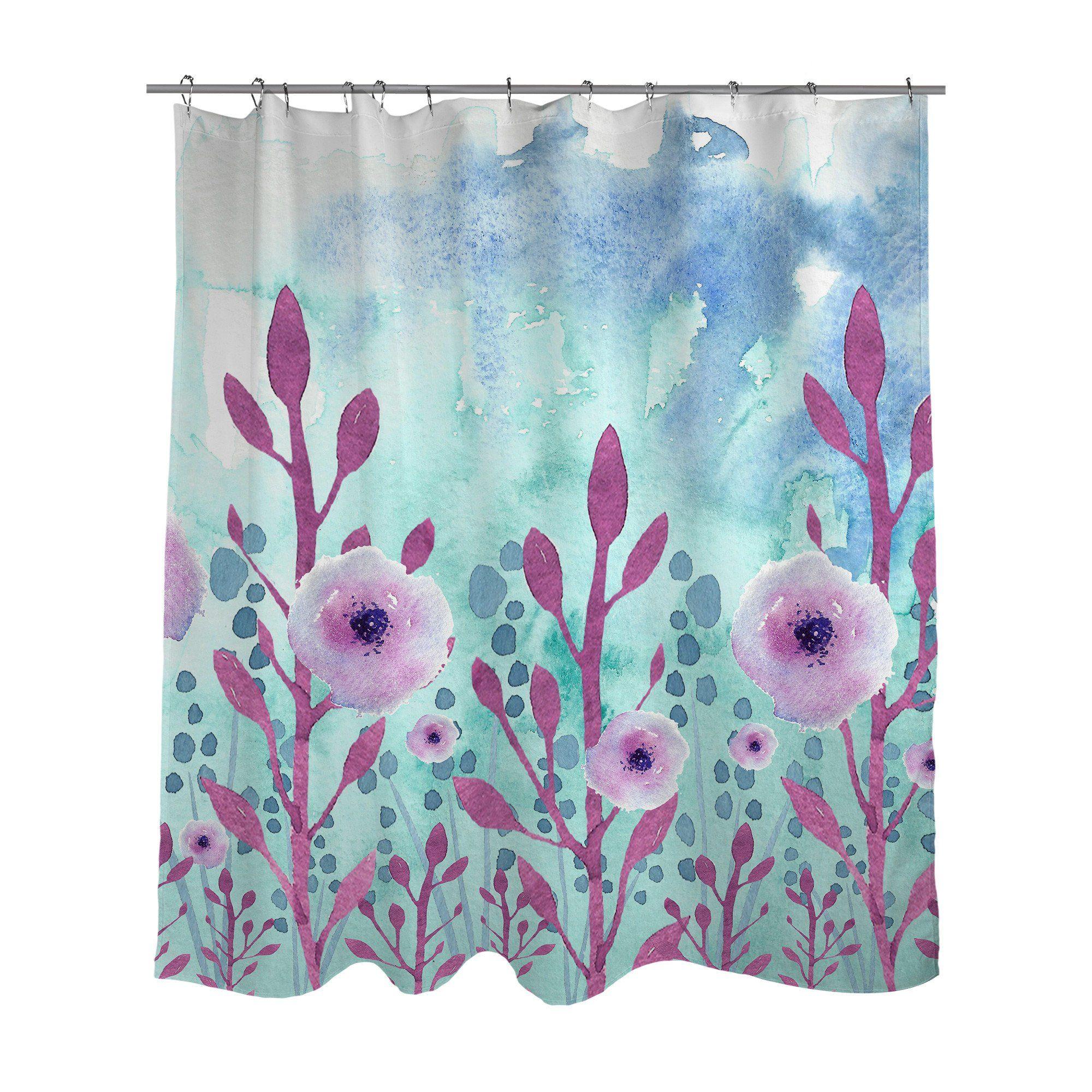 Shower curtain pink pansy original art by elderbrook studio