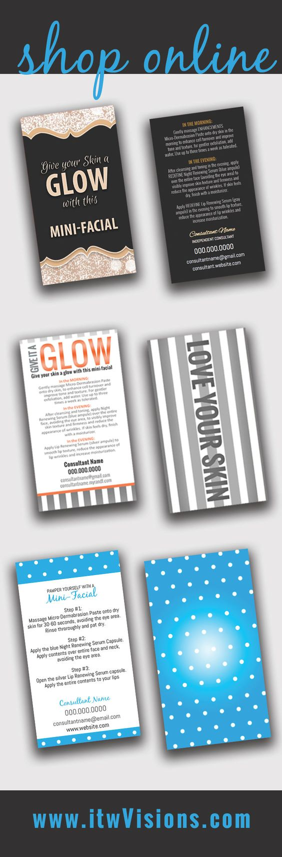 Rodan fields mini facial mini facial instruction card give it business card templates and marketing materials magicingreecefo Image collections