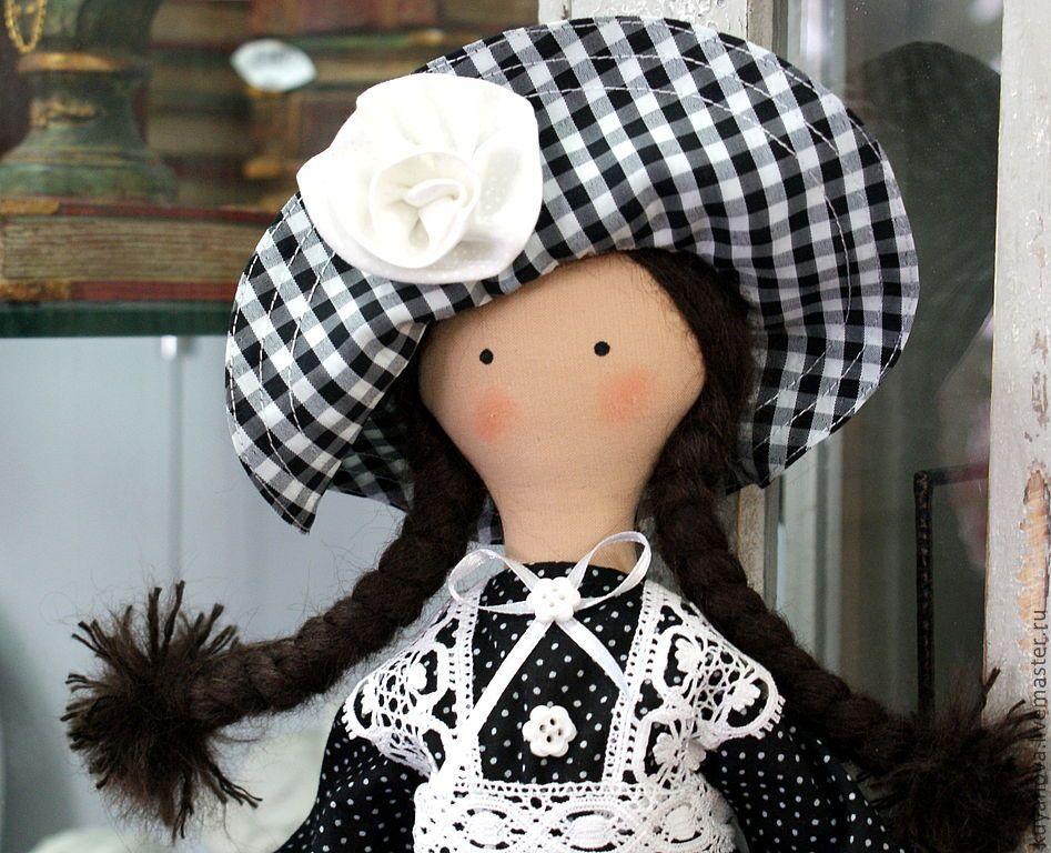 Купить Фира - чёрно-белый, интерьерная кукла, коллекционная кукла, текстильная кукла, монохром, монохромный