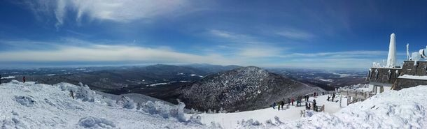 Panorama I took with my phone during a ski trip at Jay Peak VT  more in comments #winter #panorama #phone #trip #peak #photography