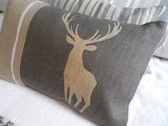 Hand printed charcoal stag cushion cover by helkatdesign on etsy 76 00