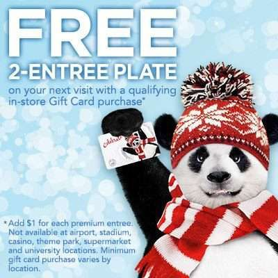 Panda Express Free Entree Plate Printable Coupon Panda Express Gift Card Store Gift Cards
